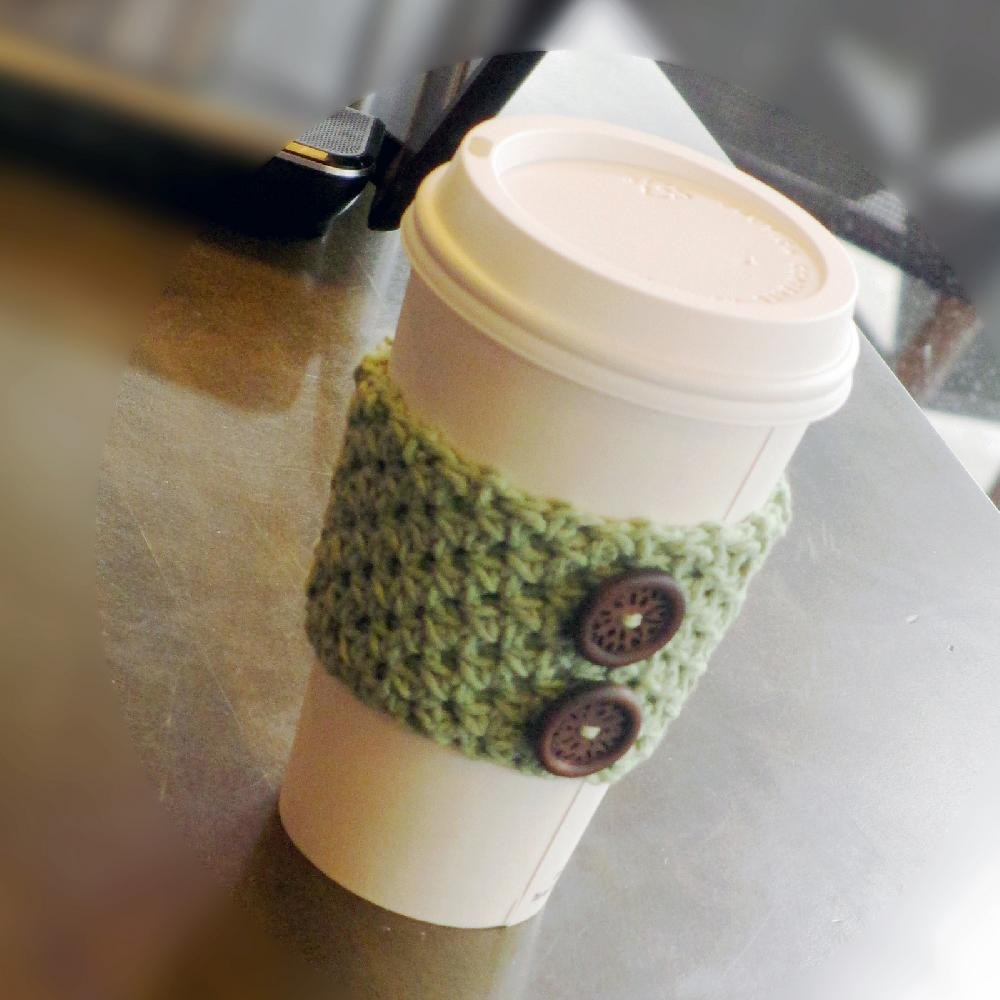 Textured coffee sleeve cozy crochet pattern by joy grise for Chenille grise