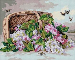 Orchidea A Basket of Lilacs Tapestry Canvas