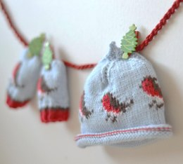 Baby beanie and baby mittens CHRISTMAS ROBINS BUNDLE OFFER!