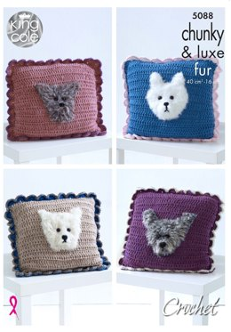 Cushions in King Cole Big Value Chunky & Luxe Fur - 5088 - Leaflet