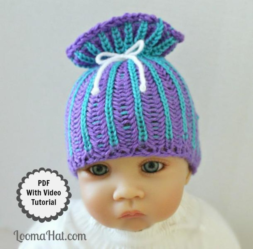 Loom Knit Patterns Baby Hat Brioche Stitch Paper Bag by Loomahat ...