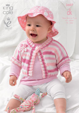 Cardigan with Knitted Flowers in King Cole DK - 3607