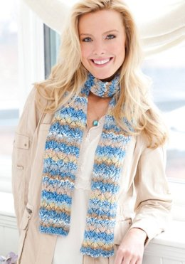 Pacific Skies Knit Scarf  in Red Heart Heart & Sole - LW2400