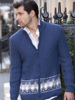 Lugano Men's Fairisle Jacket in Filatura Di Crosa Zara