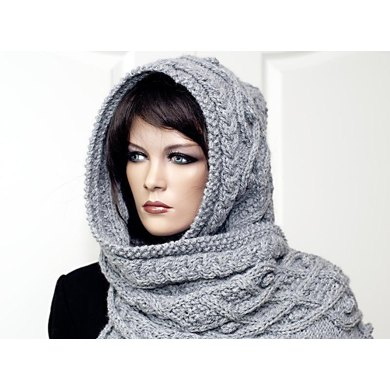 Marit Hooded Scarf With Cables And Nubs Knitting Pattern By Rita