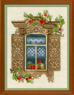 Riolis Window with Apples Cross Stitch Kit - R1732