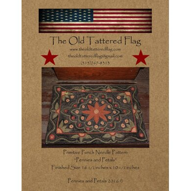 The Old Tattered Flag Pennies and Petals Punch Needle Pattern with Printed Weaver's Cloth - OTF1930 - Leaflet