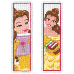Vervaco Counted Cross Stitch Kit: Bookmarks: Disney: Beauty: (Set of 2) - 6 x 20cm