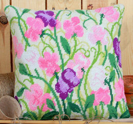 Twilleys Sweet Peas Tapestry Kit Cushion Front - 35.5 x 35.5 cm
