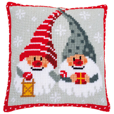 Vervaco Christmas Gnomes with Present Cushion Cross Stitch Kit
