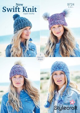 Hats in Stylecraft New Swift Knit Super Chunky- 9724 - Downloadable PDF