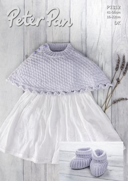 Poncho & Bootees in Peter Pan Baby Cotton DK - P1312 - Downloadable PDF