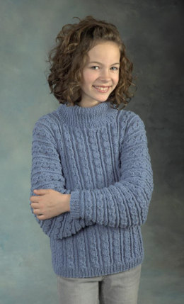 Child's Cabled Pullover in Plymouth Yarn Dandelion - 2342 - Downloadable PDF