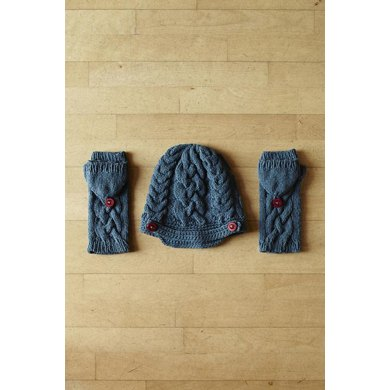 Shetland Winter Warmers (Convertible Gloves and Cable Peek Cap)
