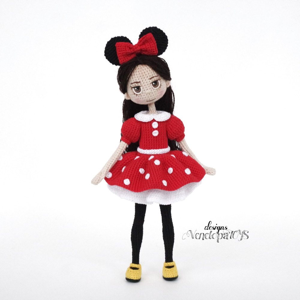 Doll In Minnie Mouse Costume Crochet Pattern By Venelopatoys