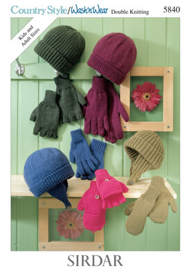 1b3e2b4cf97 Hat and Gloves in Sirdar Country Style DK and Wash  n  Wear Double Crepe DK  - 5840