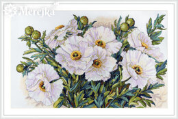 Merejka White Flowers Cross Stitch Kit - Multi