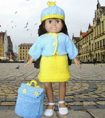 Travel Time Set, Knitting Patterns fit American Girl and other 18-Inch Dolls