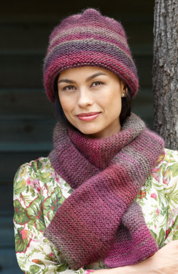 Striking Hat and Scarf in Lion Brand Amazing - 90306B