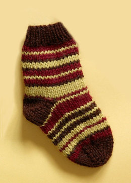 Knit Child's Striped Socks in Lion Brand Wool-Ease - 70279A