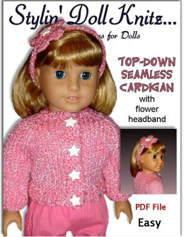 Pdf 18 in. doll knitting pattern. Fits American Girl Doll. Top-Down Seamless cardigan 011
