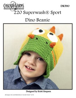 Dino Beanie in Cascade 220 Superwash Sport - DK590 - Downloadable PDF
