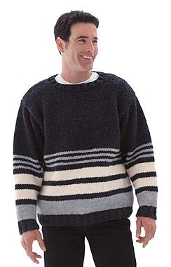 Striped Pullover Sweater in Lion Brand Wool-Ease Chunky