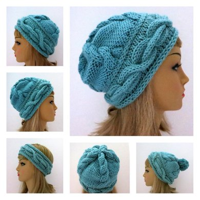 Tatyana Hat and Headband  with 3D Cables
