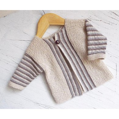 Baby sideways knit cardigan with stripe pattern