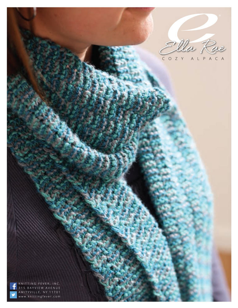Striped Garter Rib Scarf in Ella Rae Cozy Alpaca - ER5-03 ...