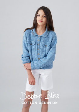 """Loveday Jacket"" - Jacket Knitting Pattern in Debbie Bliss Cotton Denim DK - DB176"