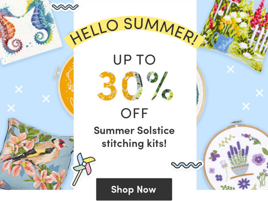 Up to 30 percent off Summer Solstice stitching kits!