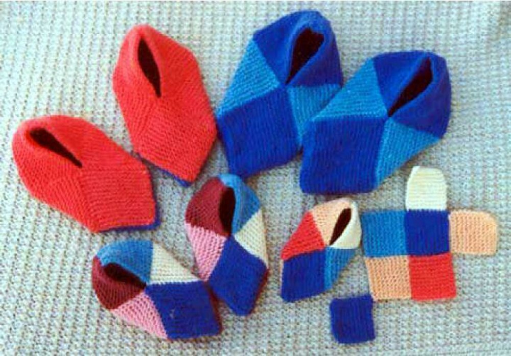 Squares Slippers Knitting pattern by Frugal Knitting Hauscross