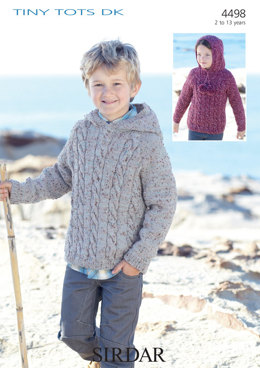 Hooded Sweater in Sirdar Snuggly Tiny Tots DK - 4498