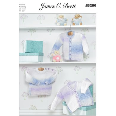 Cardigan and Sweater in James C Brett Baby Marble DK - JB286