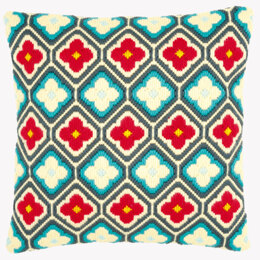 Vervaco Rhombuses and Flowers Long Stitch Cushion Front - 40 x 40 cm