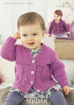 Girls Flower Cardigan in Snuggly DK - 1472