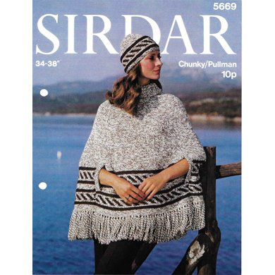 Fashion Fun Poncho and Hat in Sirdar Pullman Wool - 5669