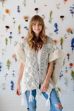 Starburst Cloud Poncho in Knit Collage Spun Cloud - Downloadable PDF