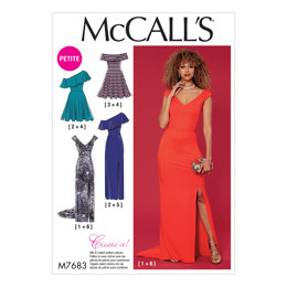 McCall's Misses'/Miss Petite Dresses with Shoulder and Skirt Variations M7683 - Sewing Pattern