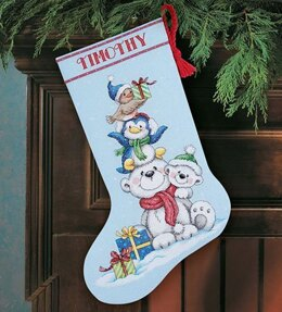 Dimensions Stack of Critters Stocking Cross Stitch Kit - 41cm