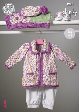 Blanket, Coat, Jacket & Hat in King Cole Chunky - 4224 - Downloadable PDF