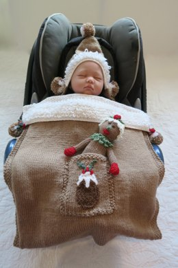 Christmas Pudding Baby Car Seat Blanket & Toy