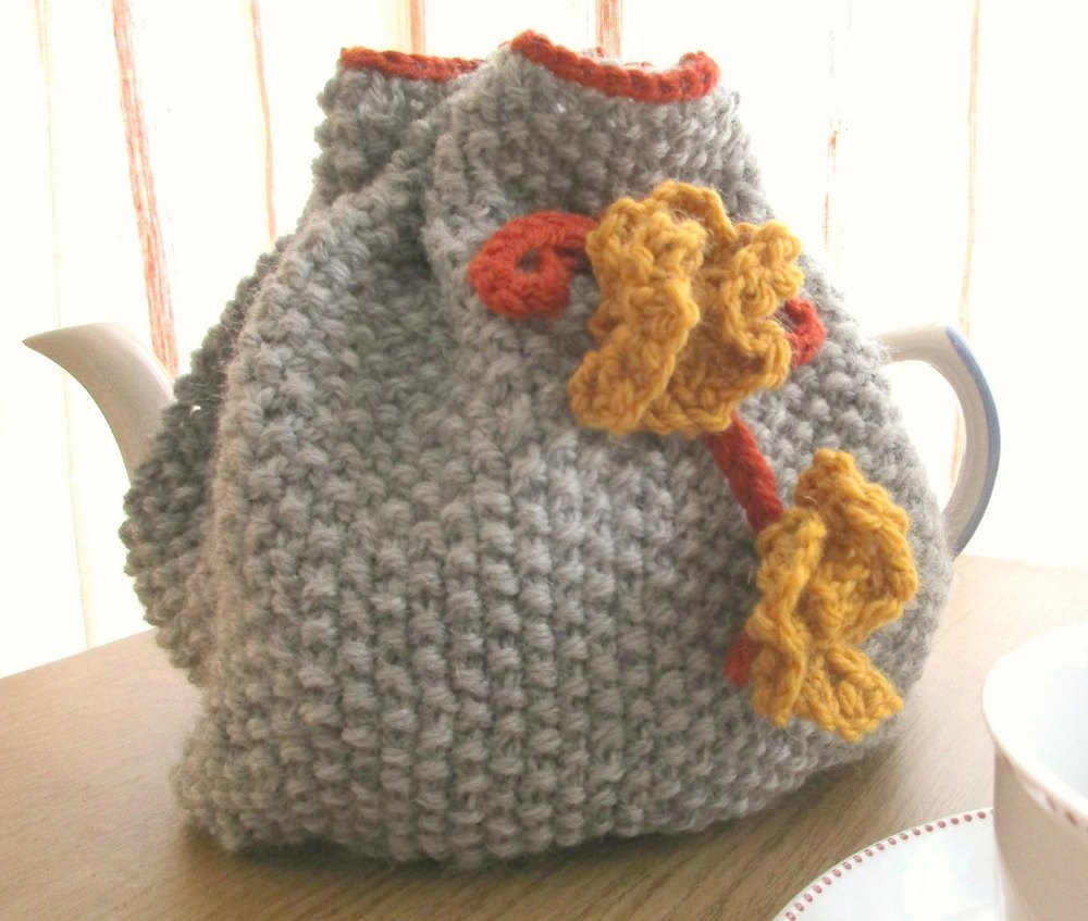 Moss Stitch And Flower Tea Cosy Knitting Pattern By Sian Brown