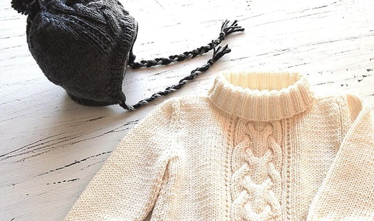 Cable Sweater with Matching Hat by OGE Knitwear Designs