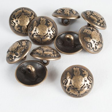 Military Style Coat of Arms Metal Button