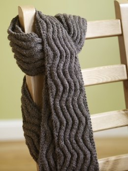 Meandering Rib Scarf in Lion Brand Fishermen's Wool - 70809AD