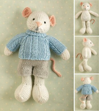 Boy mouse in a cabled sweater
