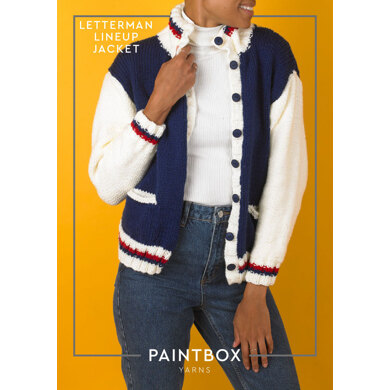 Letterman Lineup Jacket : Jacket Knitting Pattern for Women in Paintbox Yarns Bulky | Chunky Yarn