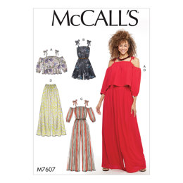 McCall's Misses' Loose-Fitting Top, Romper, and Jumpsuit With Shoulder Ties and Invisible Back Zipper, Loose-Fitting Pull-On Pants M7607 - Sewing Pattern
